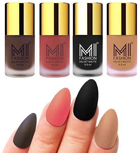 Matte Nail Polish Shades by MI Fashion®|Coffee Matte Nail Polish|Light Peach Matte Nail Polish|Black Matte Nail Polish|Nude Matte Nail Polish Combo of 4 Pcs|9.9ml