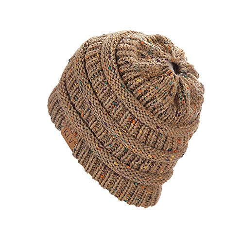 Malloom Chapeaux Chapeau de Queue de Cheval de de Slouchy de crâne de Bonnet  de Ski tricoté 148104af9f1