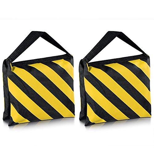 Neewer–Juego de dos negro/amarillo resistente bolsa de arena fotografía estudio vídeo etapa película bolsa alforja para luz Stands Boom brazos trípodes