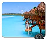 Aitutaki Cook Islands Water Villa Bungalow on Blue lagoon sea ocean Mouse Pad, Mousepad (Beaches Mouse Pad)
