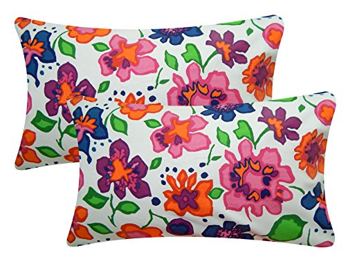 HOME COLORS Floral Pillow Covers (Pack of 2; 45 x 70 cm;...