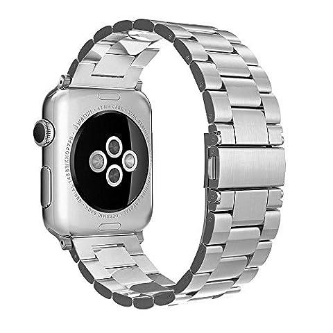 Apple Watch Bracelet 42mm, Simpeak Apple Watch Band Acier Inoxydable Strap Wrist Band Replacement avec Métal Fermoir pour Apple Watch 42mm Series 1 Series 2 Series 3- Argent
