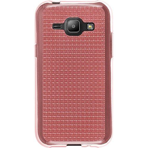 PhoneNatic Case für Samsung Galaxy J1 (2015 - J100) Hülle Silikon hellblau Iced Cover Galaxy J1 (2015 - J100) Tasche + 2 Schutzfolien Rosa