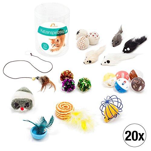 Amazy Katzenspielzeug Set (20 Stück) – Interaktives Katzen Spielzeug für mehr Spaß und Abwechslung im Alltag Ihrer Katze