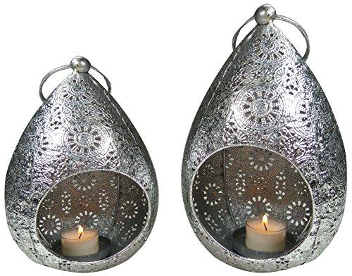 khevga Dekoration Orientalisch Windlicht hängend Stehend Deko-Set Metall Silber 2er Set (2)