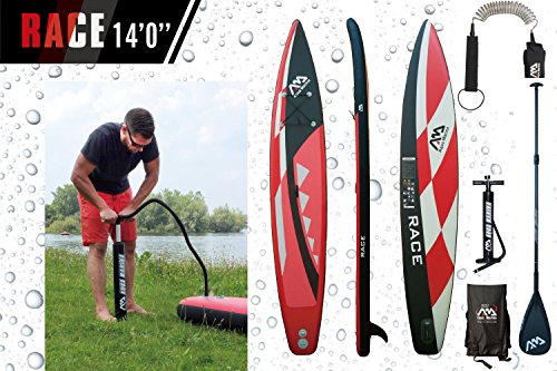 ISUP Aqua Marina Race - Stand Up Paddle Board inkl. Pumpe, Leash Coil, Carbon Paddel, Tasche (Tasche Paddle Board)