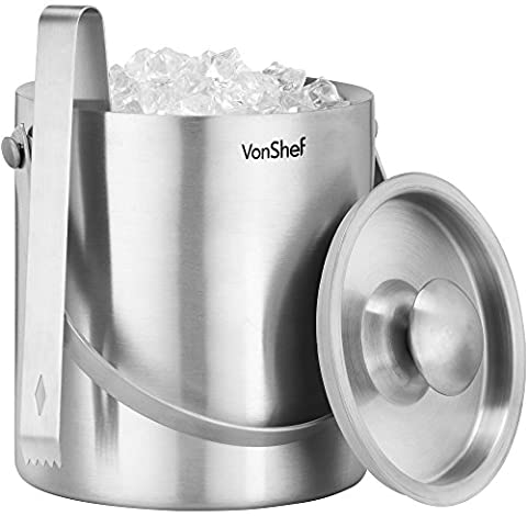 VonShef Ice Bucket with Lid 2 Litre Double Walled Insulated