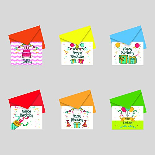 Papeteriee Mini cute BIRTHDAY GREETING Cards & Envelopes (6 Assorted sets) Pack 7