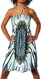 Unbekannt Damen Kleid Minikleid Cocktailkleid Neckholder Bunt Design Bandeau Partykleid Strandkleid Blumen Aztec Paisley Print Türkis, Einheitsgröße 34-40