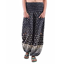 Indi Bargain Womens Cotton Harem Trouser (303Black_Black_Free Size)