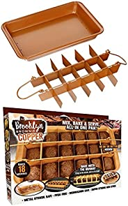 Brooklyn Brownie Copper by Gotham Steel Nonstick Baking Pan with Built-In Slicer, Ensures Perfect Crispy Edges