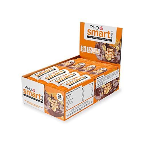 PhD Smart Bar High Protein Low Carb Bar Chocolate Peanut Butter, 64 g, Pack of 12