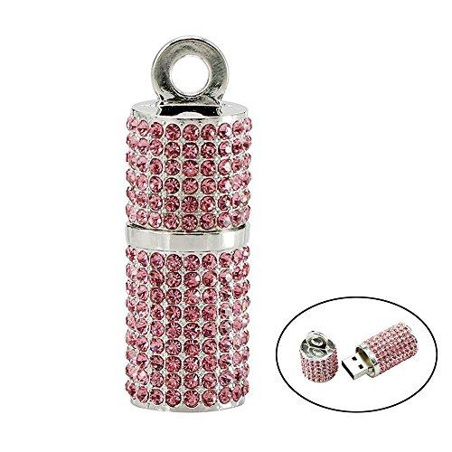 Civetman 32GB USB Stick, Rosa Bling Strass Diamant Kristall Glitter Glänzende Schmuck Halskette