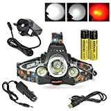 Boruit XML-T6 LED Headlamp with Red Light Rechargeable for Camping, Running,Reading,Bicycle,Hunting,Fishing. with 2*18650 Rechargeable Batteries+Wall Charger+Car Charger+USB Data Cable