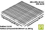 Fenau | Garagen-Gitterrost/Baunorm-Rost Maße: 490 x 490 x 30 mm - MW: 30 mm / 30 mm (Vollbad-Feuerverzinkt) (Passend für Zarge: Fenau 500 x 500 x 33 mm) Industrie-Norm-Rost für Lichtschacht