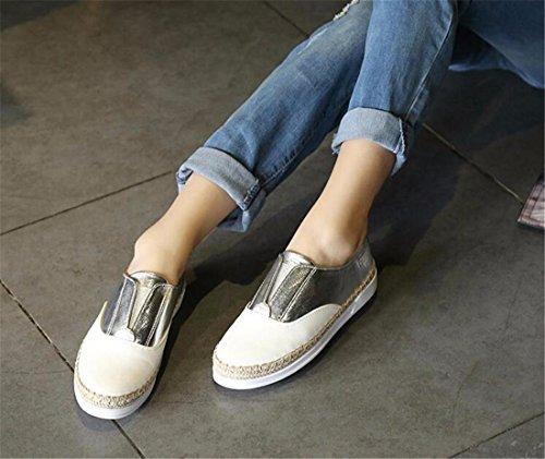 Les Femmes De Sport Espadrille Bateau Chaussures Plates De Glissement Sur Tissent Baskets Casual Chaussures Nouvelles couleurs melangees Argent