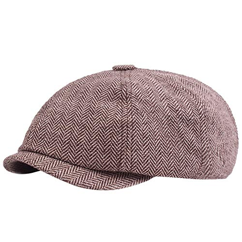 FYLQZZLM Herringbone Tweed Flat Cap Hut Womens Wear Mens Künstler Student Hut Herringbone Tweed Cap