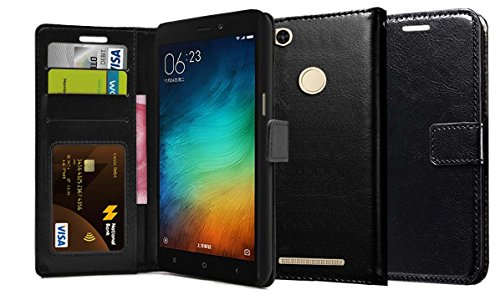 Febelo Premium Quality PU Leather Magnetic Lock Wallet flip cover Case for Xiaomi Redmi 3S Prime - Black Color