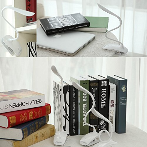 Mospro Clip Light, Desk Lamps, Book Reading Bedside Lights with Flexible Neck, Touch Sensitive Control 3 Brightness, Eye-protect Night Light and Rechargeable LED Lamps for E-Reader, Music Stand(White)