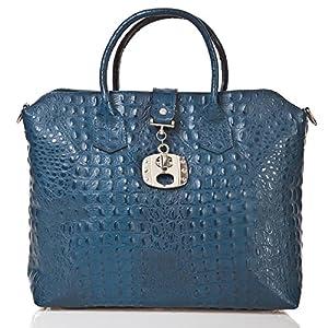 italienische Damen Handtasche Dallas aus echtem Leder in kobalt blau, Made in Italy, Shopper Bag 39x30 cm