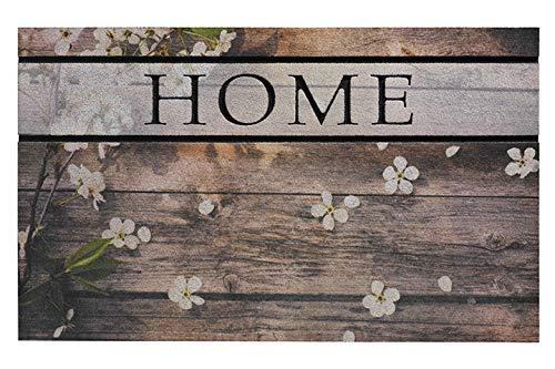 Feuchtalarm-Bavaria Home Style Collection Gummimatten - Gummi Fussmatte - Fußmatte - Schmutzabstreifer - Fußabstreifer - Fußabtreter - Türmatte - Motivfußmatte - Motiv Auswahl (Woodpanel Flowers)