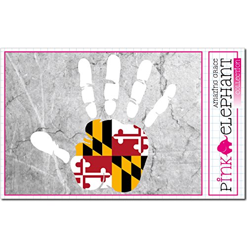 pinkelephant Aufkleber / Autoaufkleber - Maryland - rechte Hand - Fahne - 10 cm x 9,5 cm - finger print palm slap handabdruck mano (Baltimore Ravens-aufkleber)