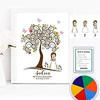 Cuadro árbol de huellas niña comunión. Varios tamaños.Tintas e instrucciones incluidas. Invitaciones y Banner opcional.MODELO MULTICOLOR