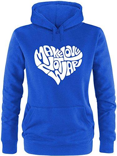 EZYshirt® Make love not war Damen Hoodie Royal/Weiss