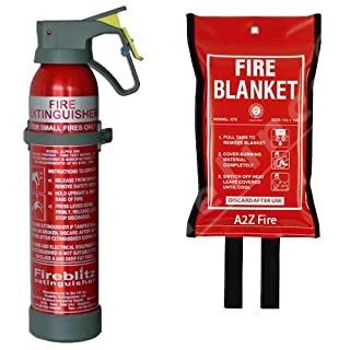 600g Powder Fire Extinguisher & 1m x 1m Fire Blanket from A2Z Fire - Home Safety Kit