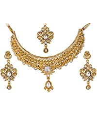 Apara Gold Plated Antique Necklace Set With Maang Tikka For Women