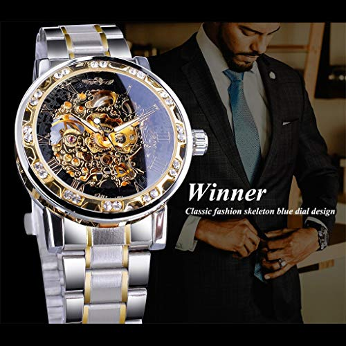 TianranRT★ Herren Armbanduhr,T-Winner Fashion Hollow Luxury Design Business Fashion Herren Mechanische Uhr New Fashion Simple Regenmantel,Schwarz