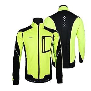 Lixada Montaña Arsuxeo chaqueta de invierno caliente chaqueta de manga larga de ciclismo de luz de bicicleta a prueba de viento de la camiseta de la ropa (Verde, M)