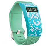 Greatfine Funda para Fitbit Charge / Fitbit Charge HR Carcasa De Gama Alta Silicona y Policarbonato (Green Flower)