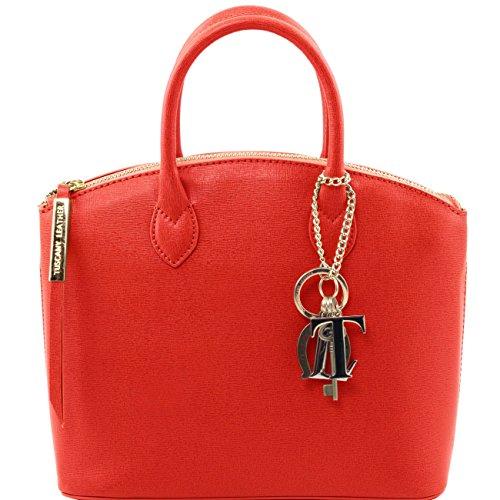 Tuscany Leather TL KeyLuck - Borsa shopper in pelle Saffiano - Misura piccola Nero Borse donna a mano in pelle Rosso