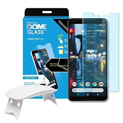 Dome Glass Google Pixel 2 XL Screen Protector Tempered Glass Shield, Full Screen Coverage 2.5D Rounded [Liquid Dispersion Tech] Easy Install Tray and UV Light by Whitestone for Pixel 2XL