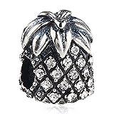 Ananas-Charm 925 Sterling Silber Glücksbringer Geburtstag Charm Weihnachten Charm Obst Charm für Armband weiß