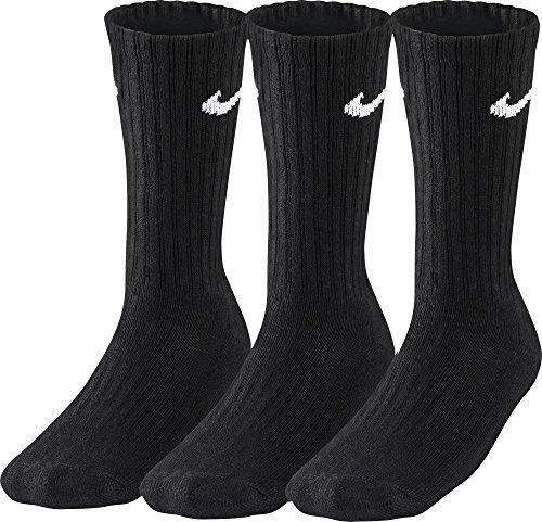 Nike 3Ppk Value Cotton Crew - Calcetines unisex, color negro/ blanco, talla L/ 42-46