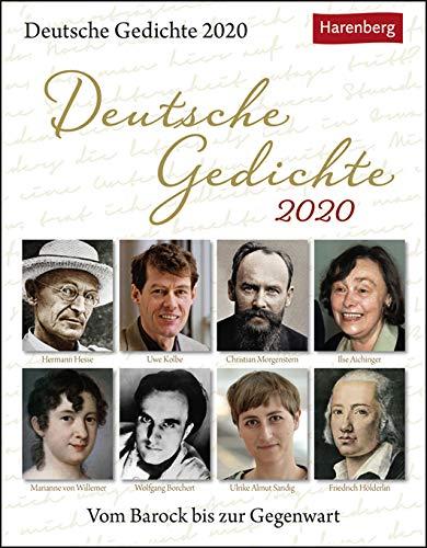 Deutsche Gedichte - Vom Barock bis zur Gegenwart - Kalender 2020 - Harenberg-Verlag - Lyrischer Tagesabreißkalender - 12,5 cm x 16 cm