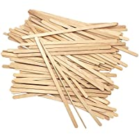 Palillos de madera desechables para té, café, madera, 19 cm, 100 unidades