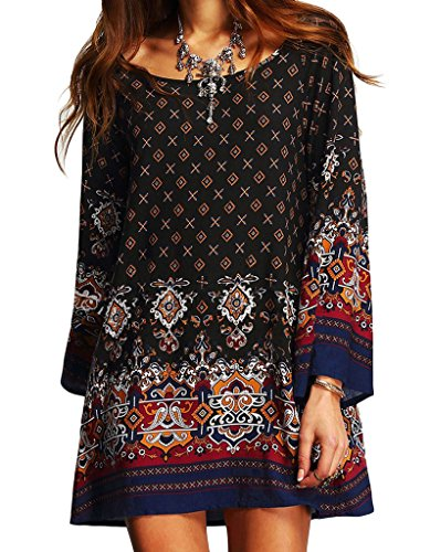 Tunic Tops for Leggings for Women, Loose Summer Casual Boho Tunic Mini Dress with Ethnic Style Floral Print Round Neck Long Sleeve
