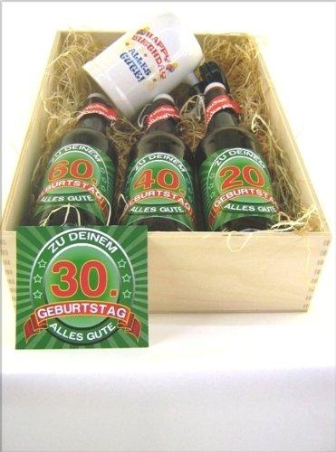 Bier Präsentkiste gef. mit 3 Fl. Bier und 1 Bierkrug a' 0,5 ltr Flasche zum 30. Geburtstag