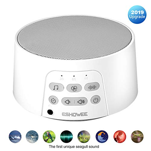 ESHOWEE White Noise Machine, Einschlafhilfe für Erwachsene und Kinder Weißes Rauschen Maschine mit 24 Beruhigender Geräuschen, 3 Timer-Einstellungen, ideal für Baby/Yoga Schlafmaschine/Reisende