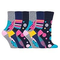 6 pairs Ladies SockShop Cotton Gentle Grip UK 4-8, EUR 37-42 Socks - NEW variations (6 x RH189 C/B Hyper)