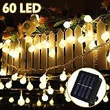 Solar Lichterkette Außen, Nasharia 8 Meter 60er LED Solar Lichterkette mit LED Kugel 8 Modi IP65 Wasserdicht Warmweiß Lichterkette mit...
