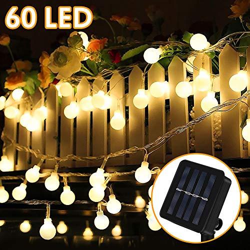 Solar Lichterkette Außen, Nasharia 8 Meter 60er LED Solar Lichterkette mit LED Kugel 8 Modi IP65 Wasserdicht Warmweiß Lichterkette mit Lichtsensor Beleuchtung für Garten, Partys, Balkon, Hochzeit