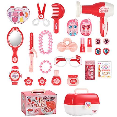 Maletín de Joyería y Maquillaje Juguete Pretend Play Belleza Caja Completa de Peluquería inluye 30 Piezas Comésticas Juego Educativo y Científico Regalo Ideal de Cumpleaños Navidad para Niños 3+ Años