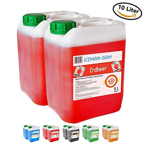 Erdbeer-kanister (Iceman Sam Sirup/Sirup Slush - Slusheis Konzentrat - 100% AZO frei, 2 x 5 Liter Kanister (Erdbeere))