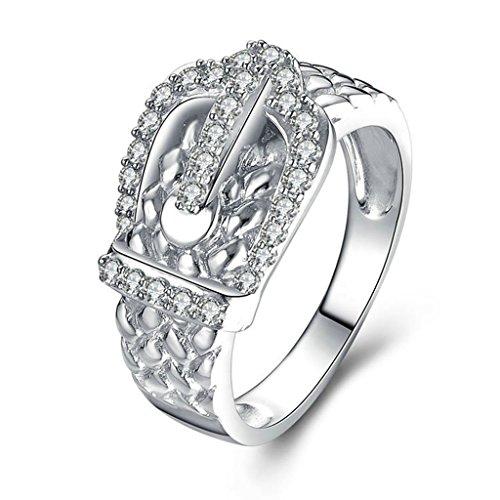 Epinki Damen Ringe, 925 Sterling Silber Damenringe Verlobungsringe Trauringe Klassische Gürtel Form Zirkonia Gr.54 (17.2)