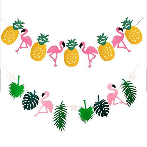 Deko Ananas Flamingo Banner, Bunting Dekorationen für Kindergeburtstag Hawaiianische Tropical Thema Party, 2 Stück ()