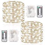 GDEALER 2 Stück Lichterkette Außen 6M 60 LEDs Lichterkette mit Batterie 8 Modi Wasserdicht IP65 Kupferdraht mit Fernbedienung und Timer für Weihnacht , Hochzeit, Party, Garten und Haus Deko (Kaltweiß)